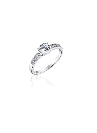 Tophills Diamond Co. 0,80 Ct Pırlanta Efekt Altın Belissima Yüzük Renkli